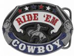 Ride'em Cowboy Rodeo Belt Buckle with display stand. Code LC4